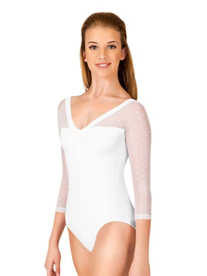 2721dd1ae4fe Amazon.com  Adult Dot Mesh 3 4 Sleeve Leotard NC8821  Clothing