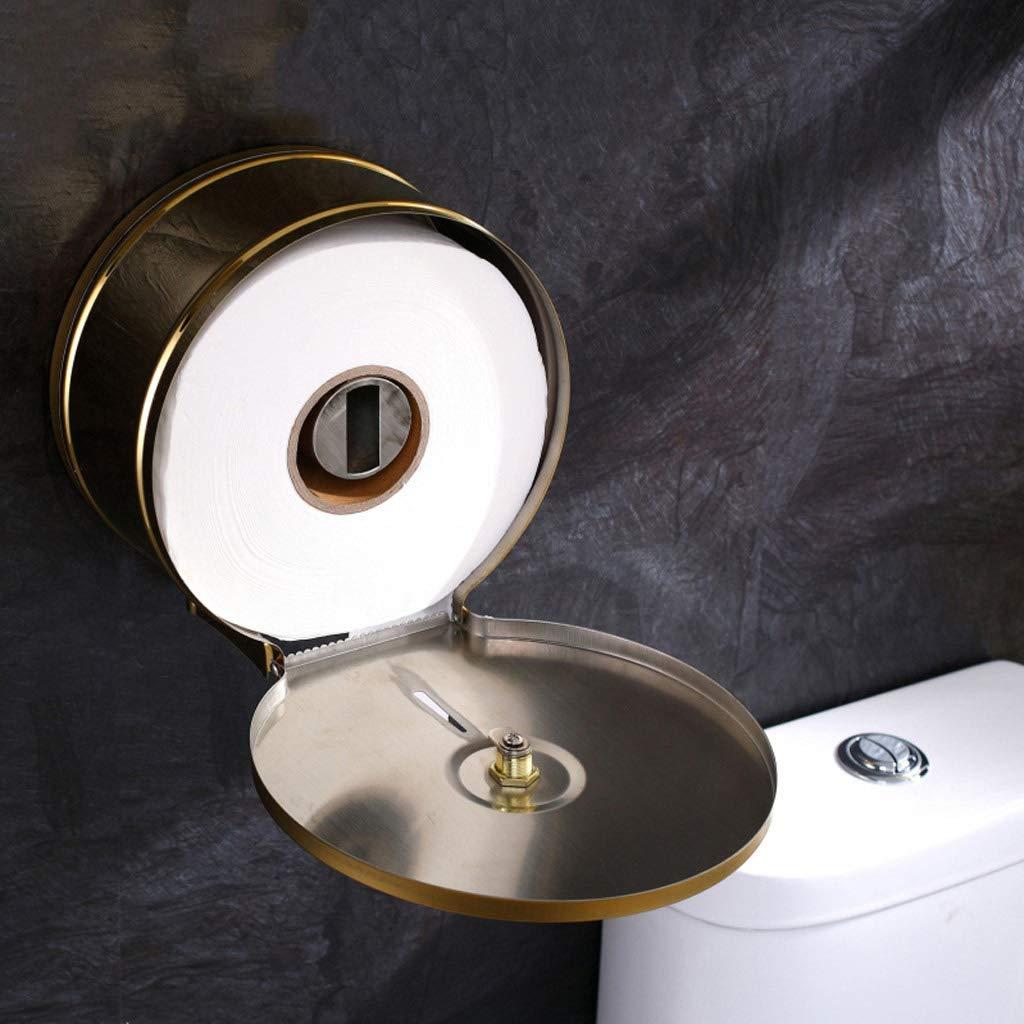comerciales oficinas con dise/ño de caja de pa/ñuelos Portarrollos de papel higi/énico dorado para hoteles dispensador de rollo de papel higi/énico de acero inoxidable duradero