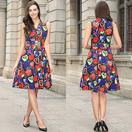 Womens 50s sin mangas con cuello en V rockabilly vintage vestido de té con cinturón desmontable Negro de manzana