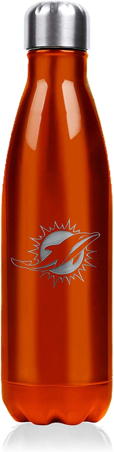 NFL Stainless Steel Water Bottle - Double Wall Vacuum Sealed Insulation - Leak Proof - Precision Laser Engraved Team Logo - Metallic Finish, 17 oz