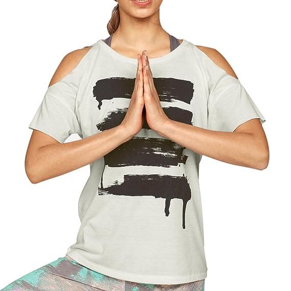 SUNNSEAN Camiseta Mujeres, Mangas Cortas, Tirantes Estampado Hombros Descubiertos Casual de Moda Elástico Tops para Yoga Fitness Deportes Blusas Camisas: ...