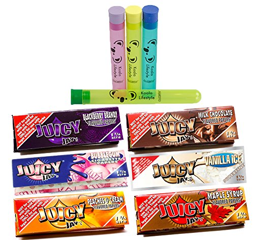 - Juicy Jay's Mixed 1 1/4 Flavored Cigarette Rolling Papers Variety Pack (32 Pack x 6 = 192 Papers) | Bundle with 4 Koala Doob Tubes - Sweet Treats Flavor