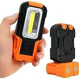 Portable LED Work Light, 200 Lumens Multi-use COB Flashlight, Magnetic Base & Hanging Hook, Battery-operated 5000K Daylight, 120° Beam Angle Flood Light, for Car Repairing, Blackout and Emergency