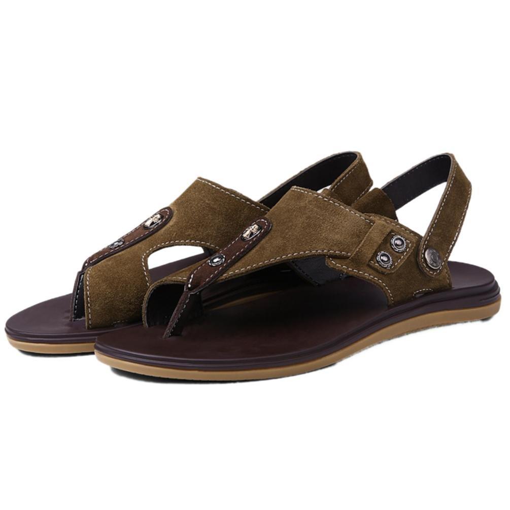 SHANGXIAN Herren Sommer Flip Flops Casual Sandalen aus Leder khaki (zwei Arten von Tees) khaki Leder 41d903