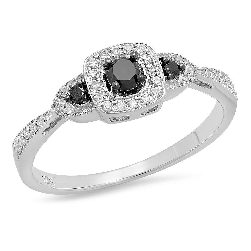 Dazzlingrock Collection 0.35 Carat (ctw) 10K Round Black & White Diamond Engagement Ring 1/3 CT, White Gold, Size 8 by Dazzlingrock Collection