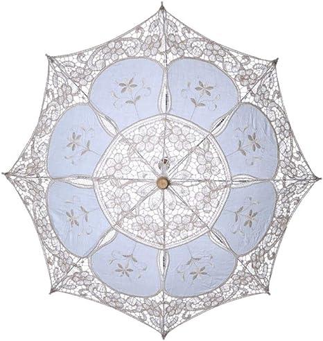 YZMBYUSAN Paraguas Moda Sombrilla Sombrero Bordado de algodón Novia Paraguas Blanco para Mujer Banquet Lace Umbrella Bride Umbrella, A4: Amazon.es: Deportes y aire libre