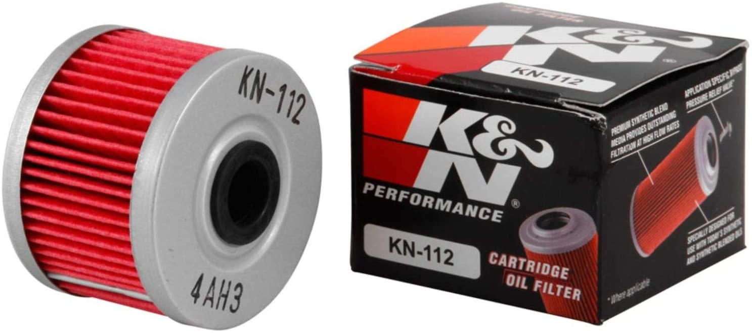 K&N Motorcycle Oil Filter: High Performance, Premium, Designed to be used with Synthetic or Conventional Oils: Fits Select Honda, Kawasaki Motorcycle Models, KN-112: Automotive