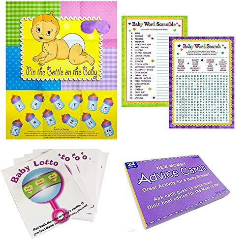 iFavor123 Set of 5 Baby Shower Activity Games - Pin The Bottle on the Baby, Word Scramble, Word Search, Baby Lotto, Mommy Advice Cards ()