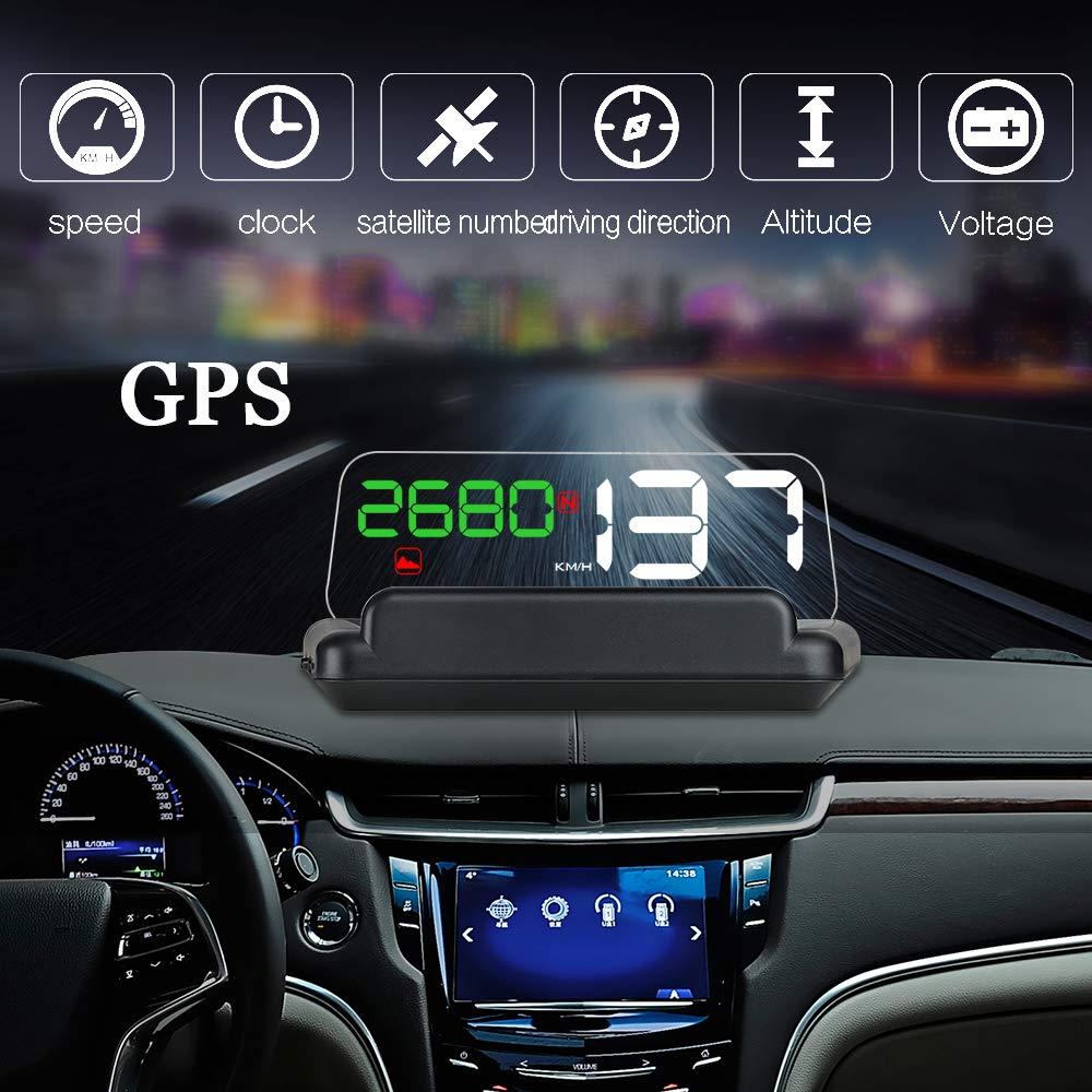 RGBS LCD Digital HUD Display GPS Head High Visualization HUD Digital GPS Light Sensor Performance Competitive Direction Driving Mileage Altitude Time Travel Speed Alarm (OBDII-GPS-C800)
