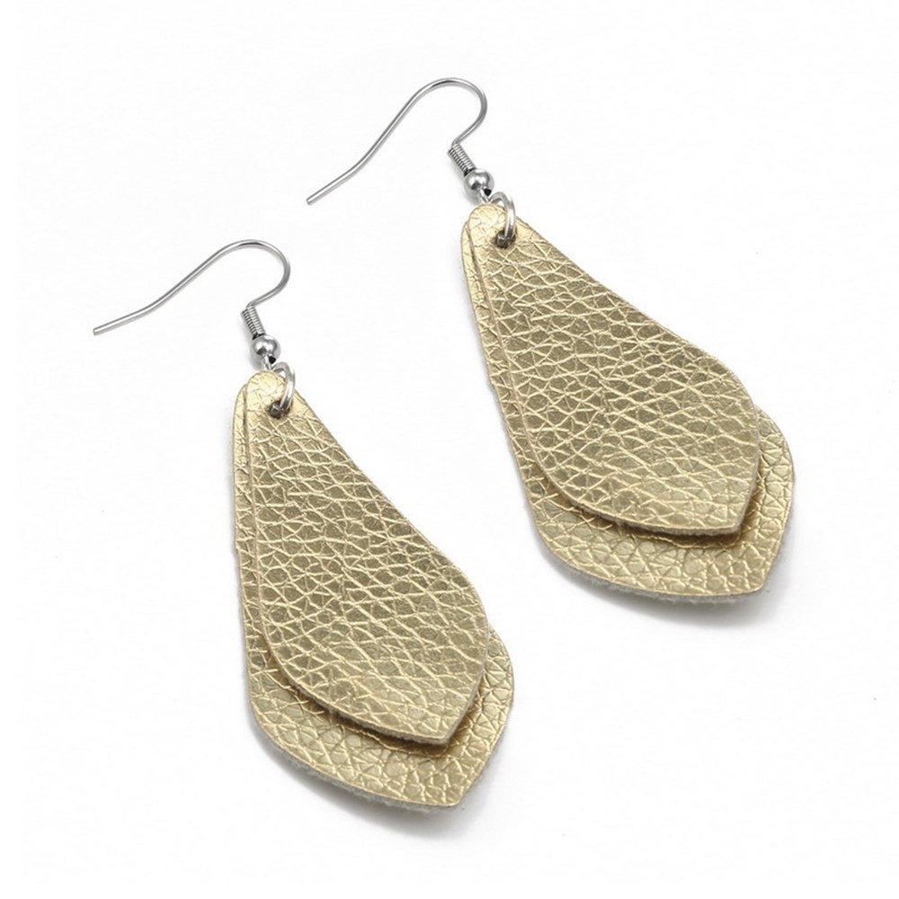 SEVENSTONE 4 Pcs Petal Leather Earrings Teardrop Leaf Drop Lightweight Antique Fashion Earrings by SEVENSTONE (Image #5)