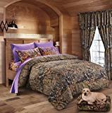 20 Lakes Hunter Camo Comforter, Sheet, Pillowcase Set Brown & Purple (Twin, Brown & Purple)