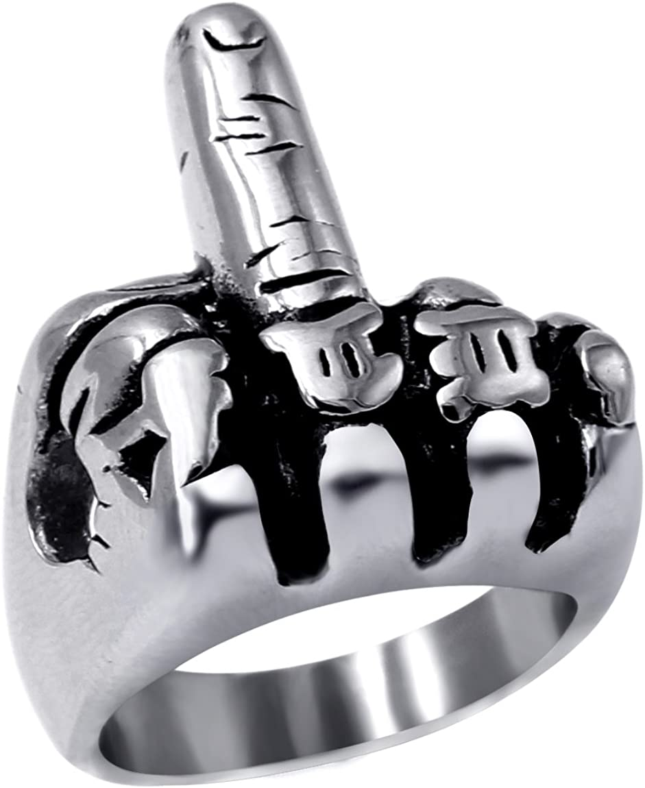 enhong Mens Biker Rings Stainless Steel Middle Finger Outlaw Punk Ring for Men Women