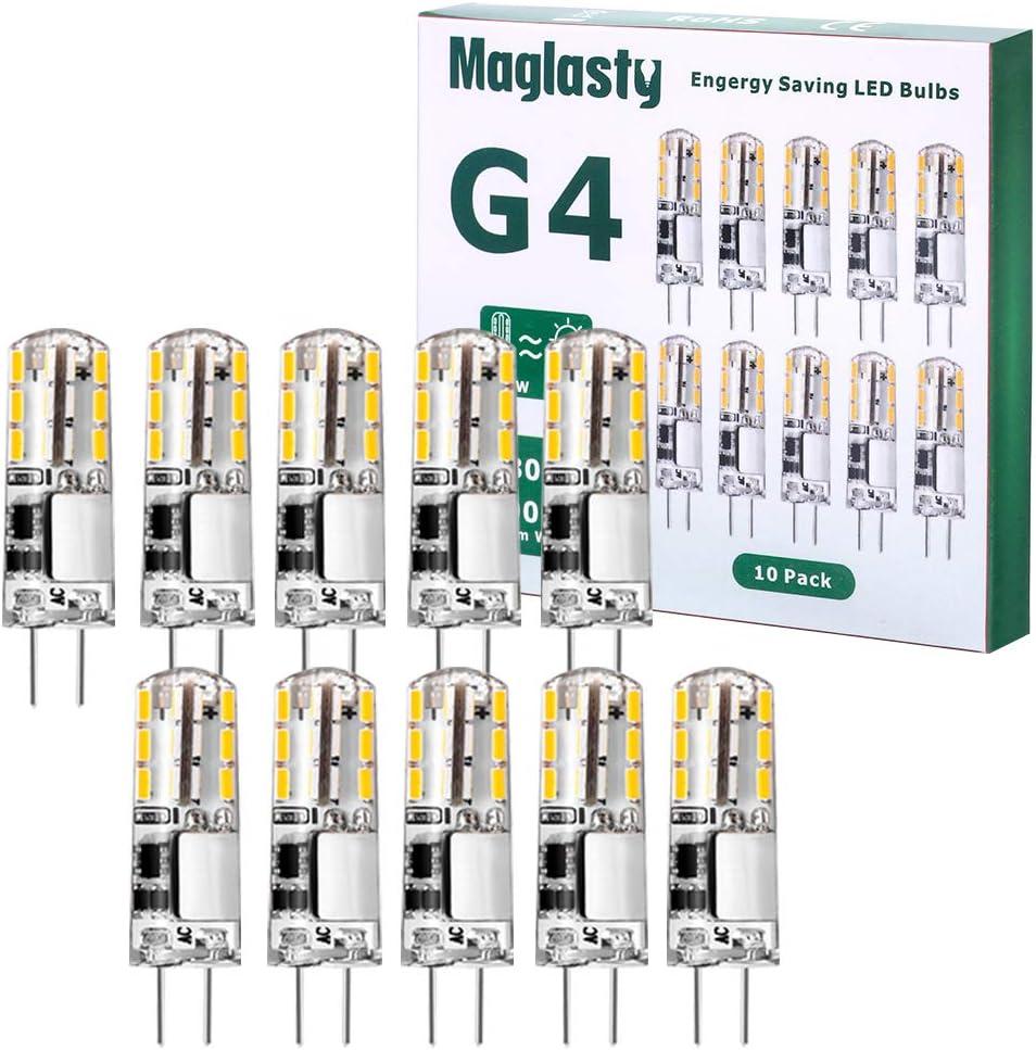 G4 LED Ampoule 1.5W 12V Classe /énerg/étique A+ Equivalent 20W Halog/ène Lampe Blanc Chaud 3000K Non Dimmable pour Chambre Salon Cuisine Jardin 10 PACKS 150LM AC//DC Ampoules 9mm x 36mm
