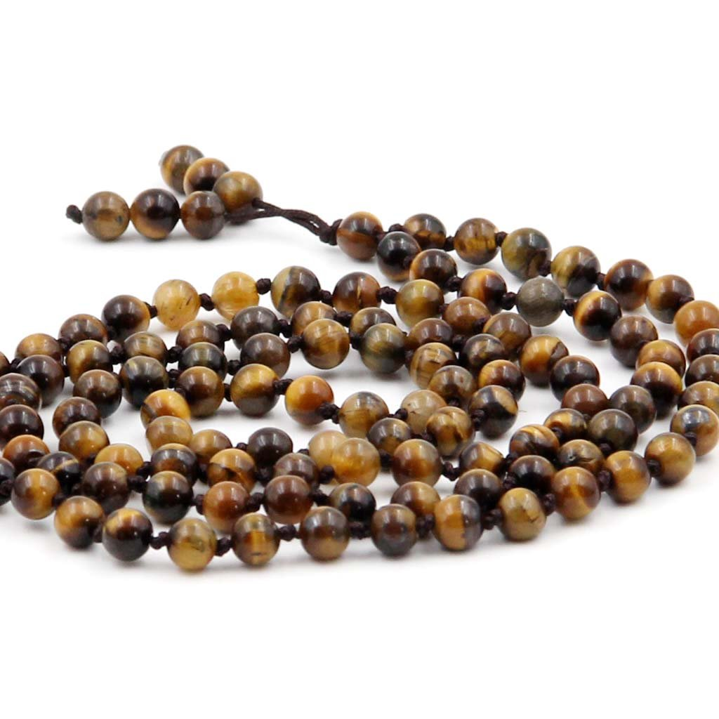 OVALBUY Buddhist Mala Hand Knotted 108 6mm Tiger Eye Beads for Meditation and Prayer