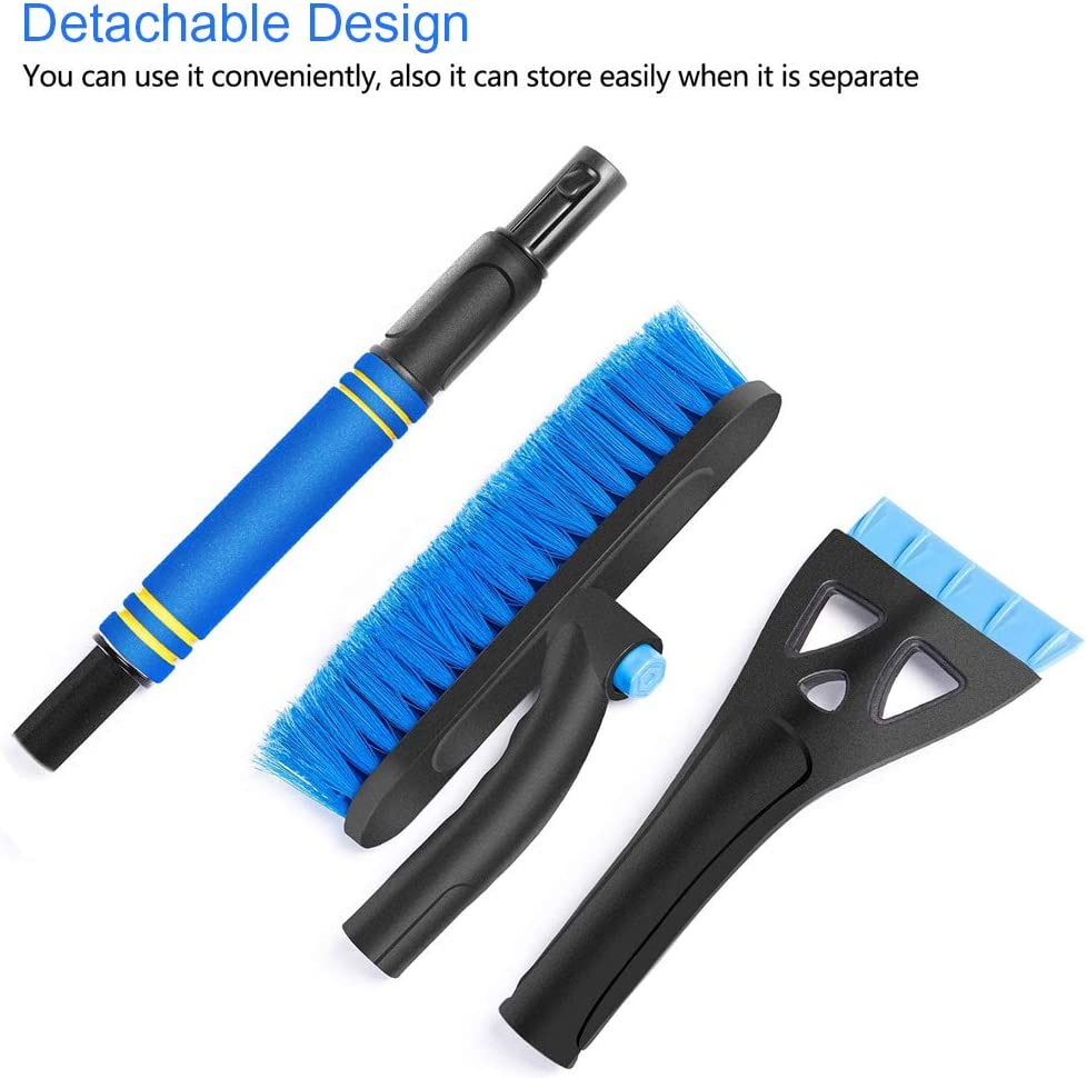 1x Detachable /& Extendable Car Snow Removal Brush with Ice Scraper and Foam Grip 1x Round Cone Magical Car Ice Scraper Snow Remover 2 Pieces Snow Brush and Ice Scraper for Car Windshield