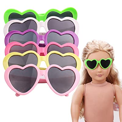 Coxeer 6 Pairs Doll Sunglasses Heart Shaped Doll Eyeglasses Doll Accessories for 18'' Doll: Kitchen & Dining