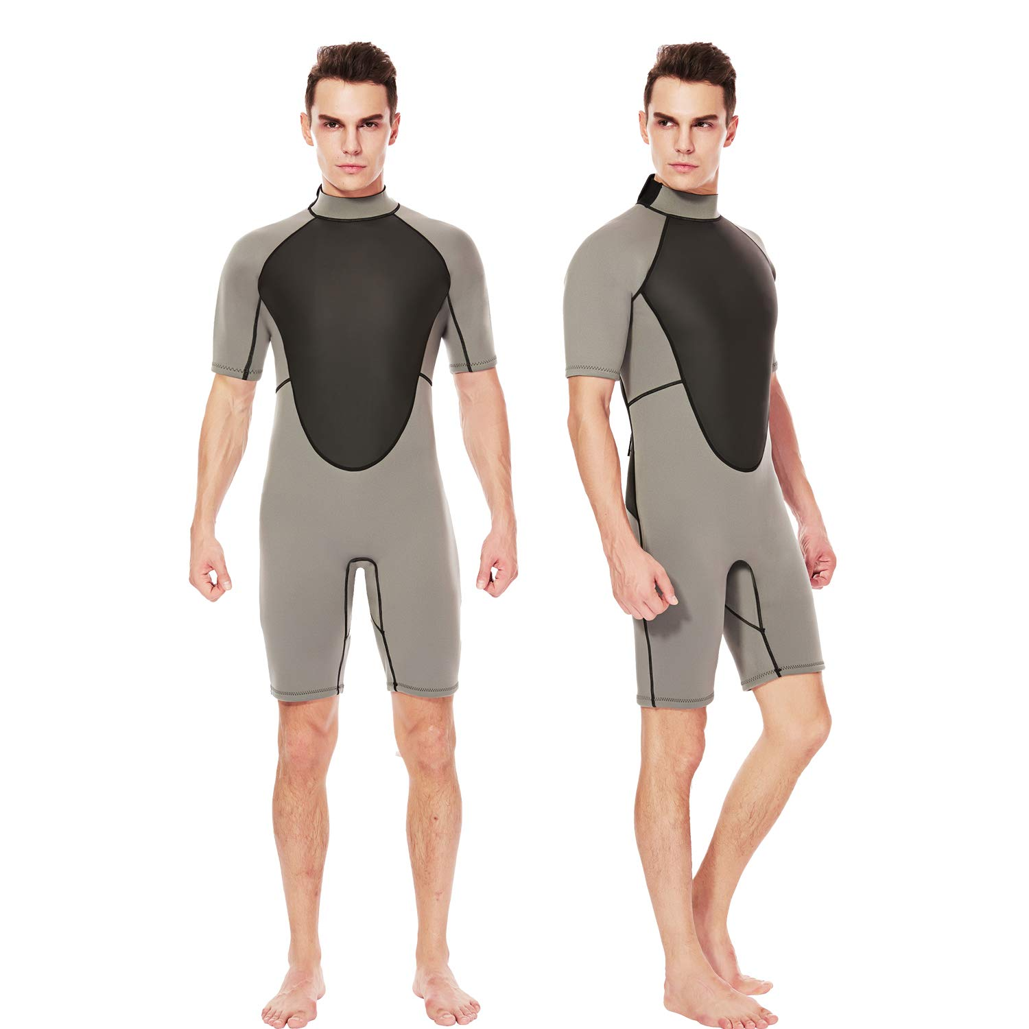 Flexel Adult's Shorty Men Wetsuits 3mm Neoprene Back Zip Diving Suits Cold Water and Outdoors Sports for Swimming Surfing Snorkeling Canoeing (3mm Grey, Medium) by Flexel