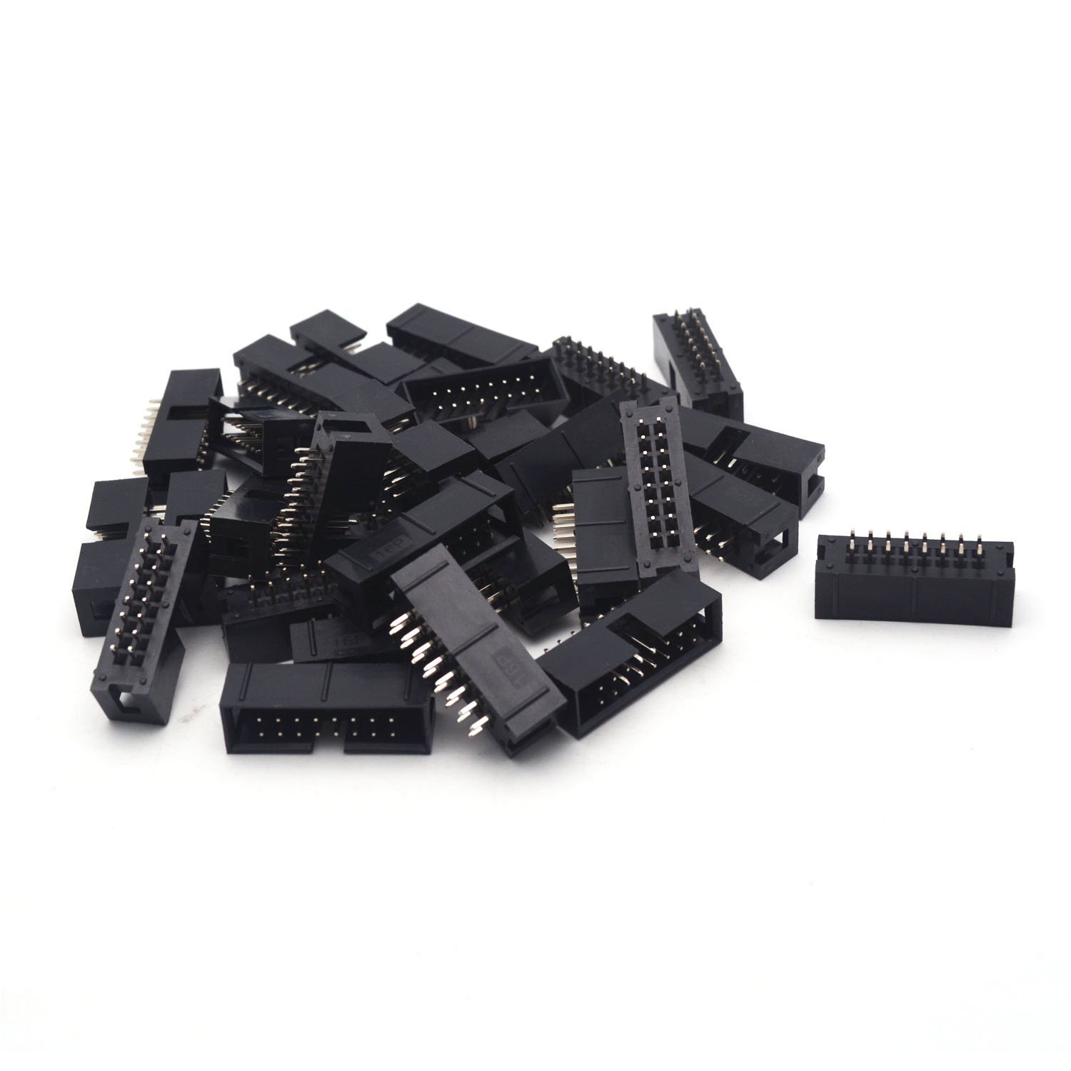 Antrader 30PCS/Lot DC3 16 Pin 2 x 8Pin Double Row Pitch 2.54mm Double-spaced Straight Pin Male IDC Socket Box Header Connector