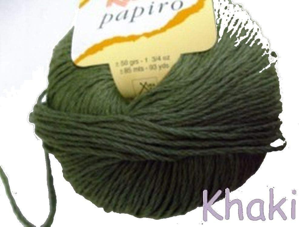 Katia papiro algodón/lino ovillo de lana, 50 g, color verde caqui ...