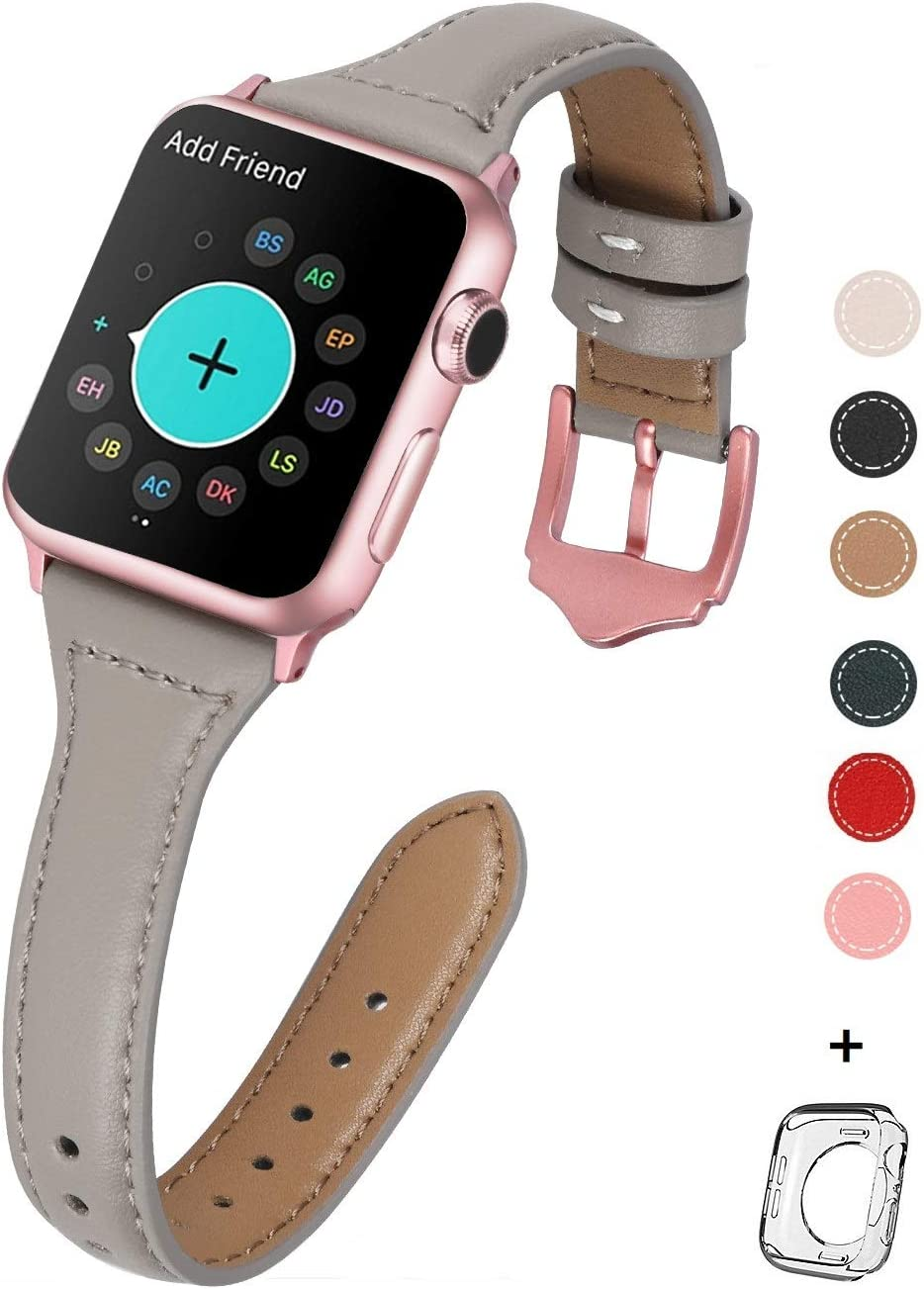 HUAFIY Leather Bands Compatible with Apple Watch Band 38mm 40mm, Top Grain Leather Band Slim & Thin Wristband for iWatch Series 5/4/3/2/1 (French Grey/Rose Gold Buckle, 38mm40mm)