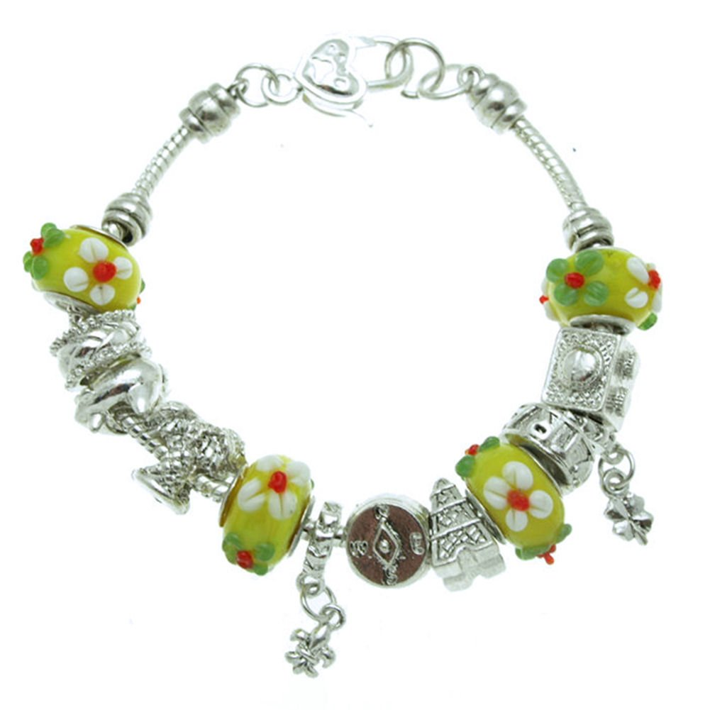 SWEETIE 8 Jewelry Women's Yellow Floral Travel Murano Glass Beads and Charms Bracelet, 7.5''