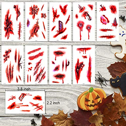 Zombie Makeup, 30-Pack,Chucky Scar tattoo, Halloween Makeup, Waterproof Temporary Tattoo Sticker, Fake Blood, Halloween Tattoos Fake Blood Makeup Vampire Makeup, Enjoy Halloween Makeup Kit Tattoos