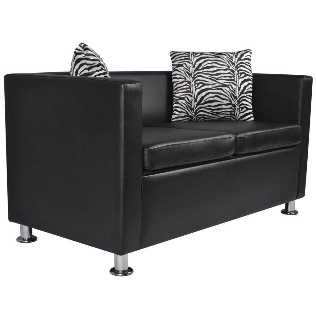 vidaXL Sofá Moderno de 2 Plazas de Cuero Artificial Negro Sillón de Salón Casa