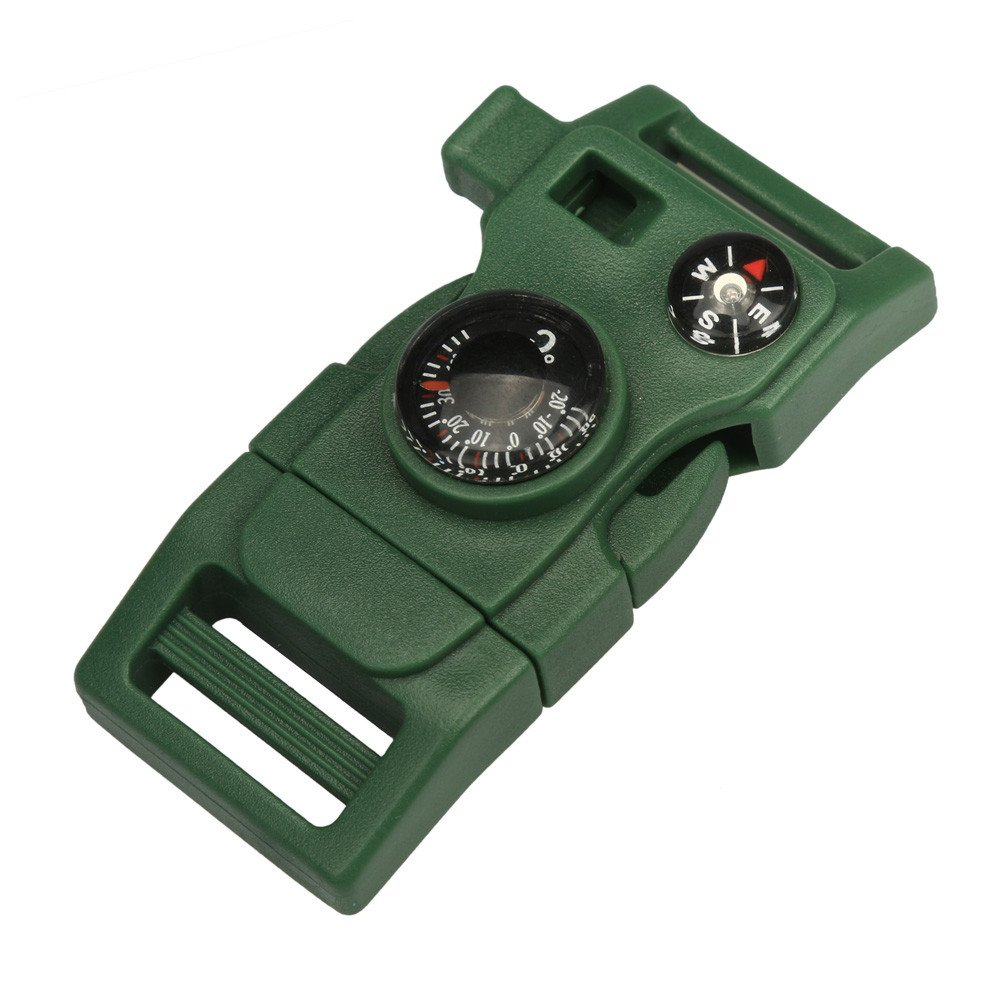 Camping & Hiking Dartphew 1Pcs [ Side Buckle With Whistle Compass Flint Fire Starter ] - Camping Hiking - Durable accessories for you(Size:2.5CMX3CM) (Army Green)