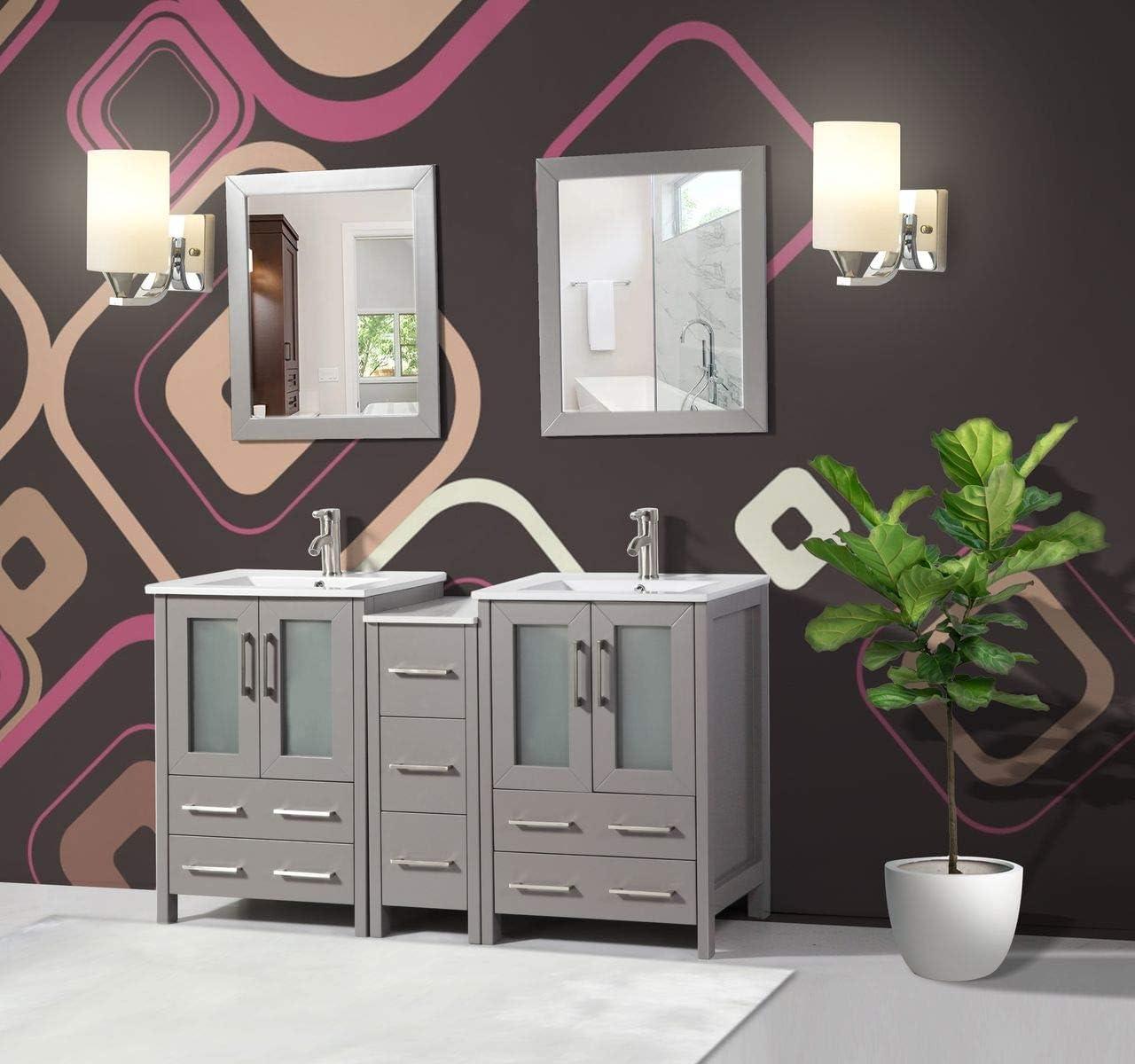 Amazon Com Vanity Art 60 Inch Double Sink Bathroom Vanity Combo Set 1 Side Cabinet 2 Shelves 7 Drawers Ceramic Top Bathroom Cabinet With Free Mirror Va3024 60 G Kitchen Dining