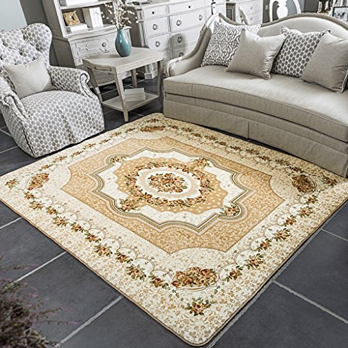JIXWU European Style Living Room Carpet Coffee Table Bedroom Sofa Office Large Carpet Rectangular Bedside Blanket (Color : A, Size : 185x185cm(73x73inch))