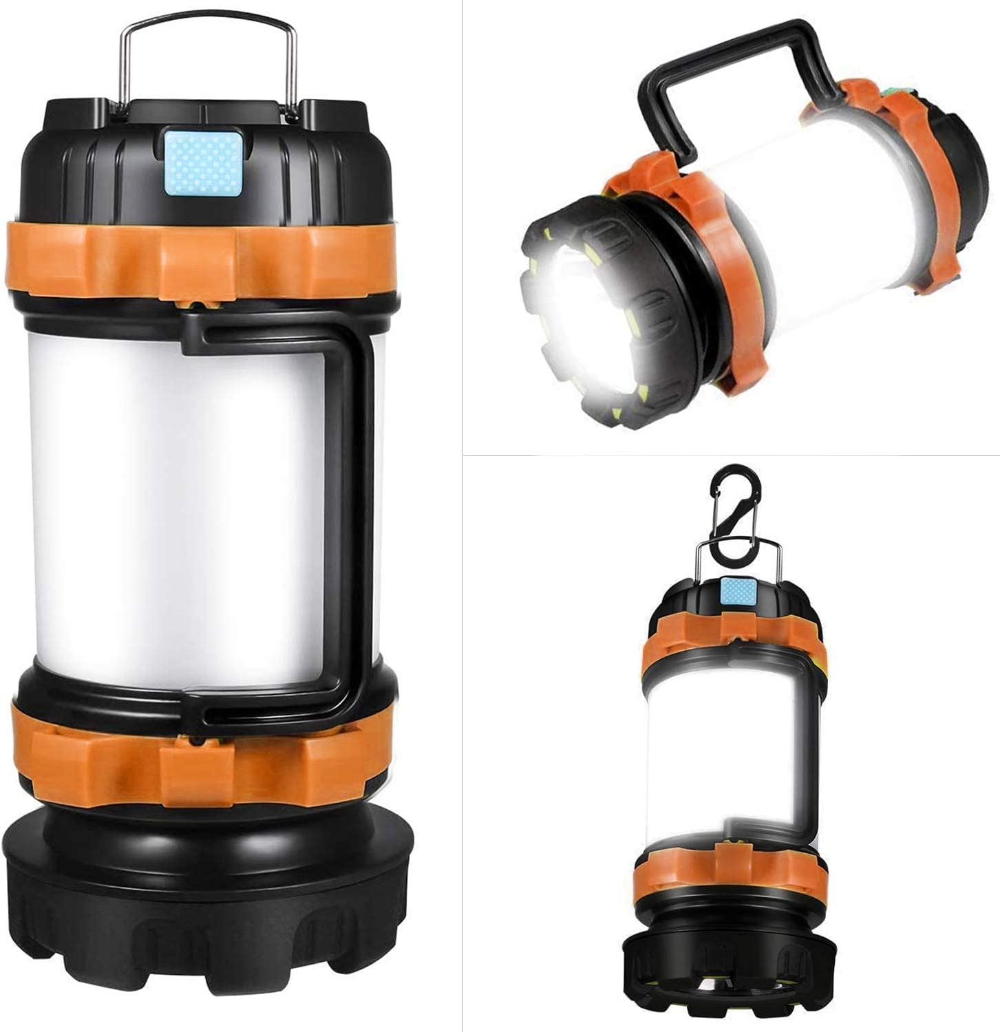 Rechargeable LED Camping Lantern, Portable Survival Flashlights Lanterns 6 Light Modes, 3600mAh Power Bank, IPX4 Waterproof, Perfect for Hurricane Emergency, Outdoor, Hiking and Home (orange)