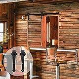 5 panel exterior door - CCJH 5 FT Single Sliding Barn Wood Door Hardware Track Set Black Heart Design (5FT for Single Door)