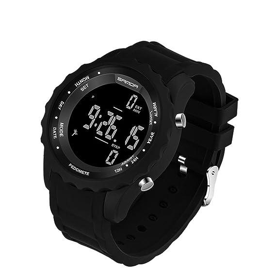 evtco Hombres Deportes Relojes impermeable reloj digital contador de pasos divertido natación buceo reloj de pulsera Negro: Amazon.es: Relojes