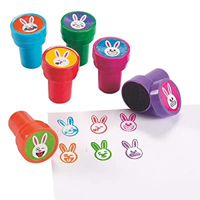 Kicko Emoji Stamp Bunny - 6 Pack - 1.5 Inch Plastic Bunnies Stampers in Assorted Colors for Crafts, Art Projects, Easter Egg Hunting, Book Covers, Birthday Party: Toys & Games