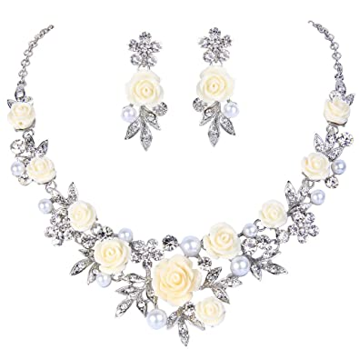 TENYE Crystal Simulated Pearl Bridal Floral Vine Necklace Earrings Set Clear Silver-Tone C1qwRIpZ