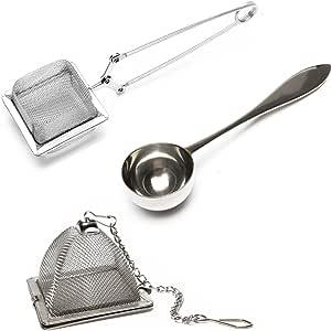 VAHDAM, Set of 2 Infusers & 1 Tea Spoon - 100% Stainless Steel, Tea Filer, Tea Strainer, Square Tea Infuser, Triangle Tea Infuser & Perfect Serve Tea Spoon - 3 Piece - Durable Tea Maker