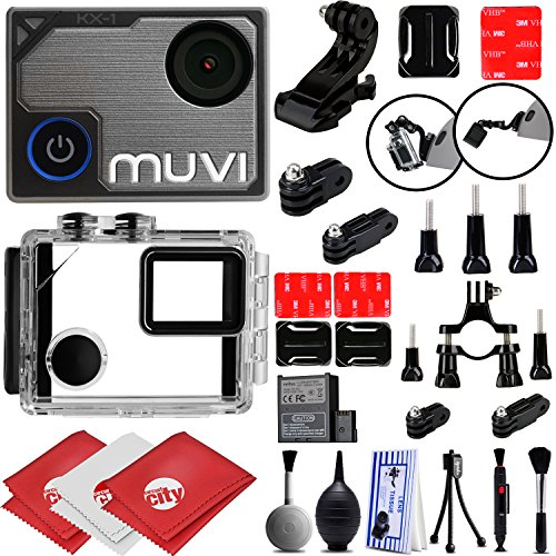 VEHO MUVI KX-1 4K Wi-Fi Sports Action Camera Action Camera w/ 12PC Starter Kit (VCC-008-KX1-NPNG)