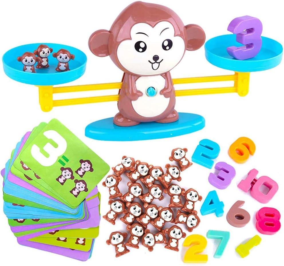 Skrskr Monkey Balance Cool Math Game Counting Toy, Regalo de Aprendizaje Educativo para niñas y niños para 3 4 5 años de Edad (Juego de 65 Piezas)