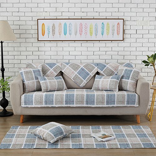 Quilted sofa furniture protectors all season, Fresh Cotton Slipcover Anti-slip Sectional sofa throw cover pad Backing and armrest sold separately-J 28x59inch(70x150cm)