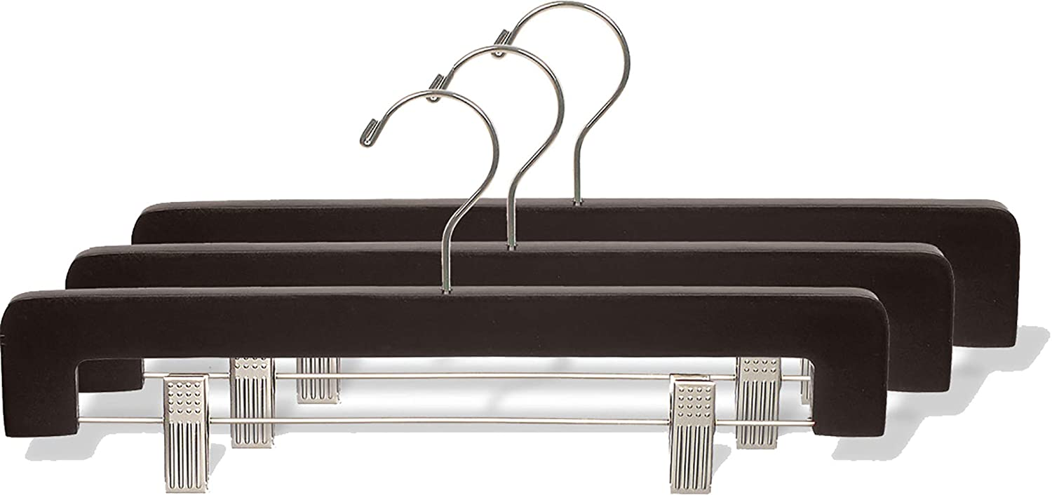 Espresso//Brushed Chrome Finish Box of 50 The Great American Hanger Company Wooden Bottoms Hangers with Clips