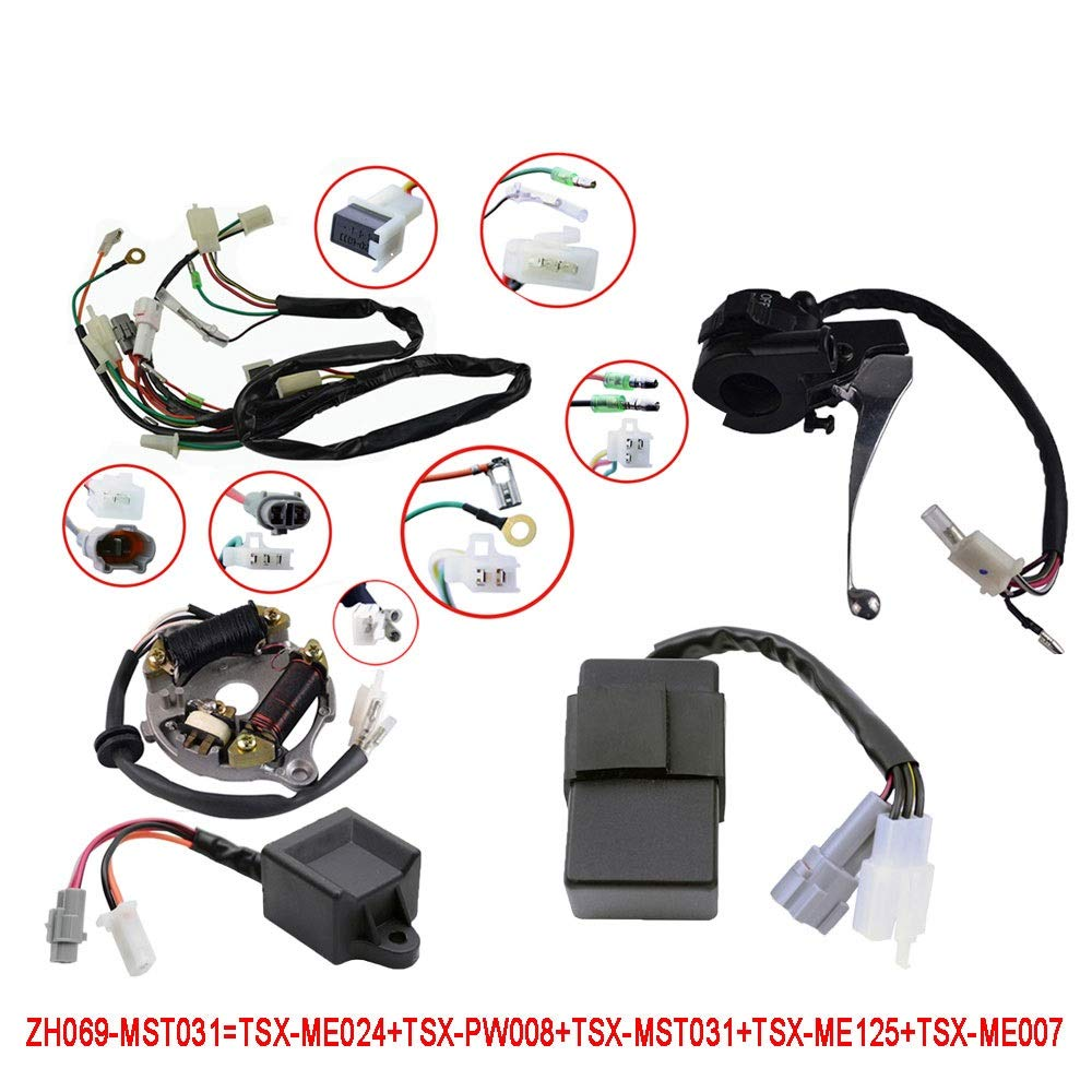 wiring harness for yamaha 125 4 wheeler wiring diagram all data 2012 Yamaha 550 Grizzly EPS 4 Wheeler amazon com flypig wiring harness wire loom ignition switch cdi unit raptor 250 4 wheelers wiring harness for yamaha 125 4 wheeler