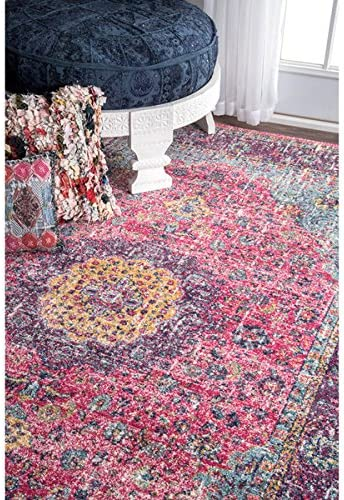 nuLOOM Traditional Persian Vintage Fancy Pink Area Rug 5 x 7 5