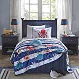 4 Piece Kids Navy Blue White Red Orange Under Water Sea Life Theme Coverlet Full Queen Set, Stylish All Over Stripe Bedding, Cute Fun Multi Whale Octopus Crab Star Fish Striped Themed Pattern