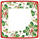 Entertaining with Caspari Gilded Holly Square Dinner Plates (8 Pack), White