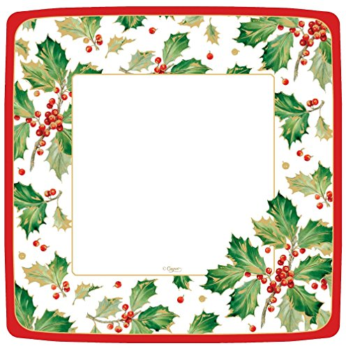 Entertaining with Caspari Gilded Holly Square Dinner Plates (8 Pack), White -