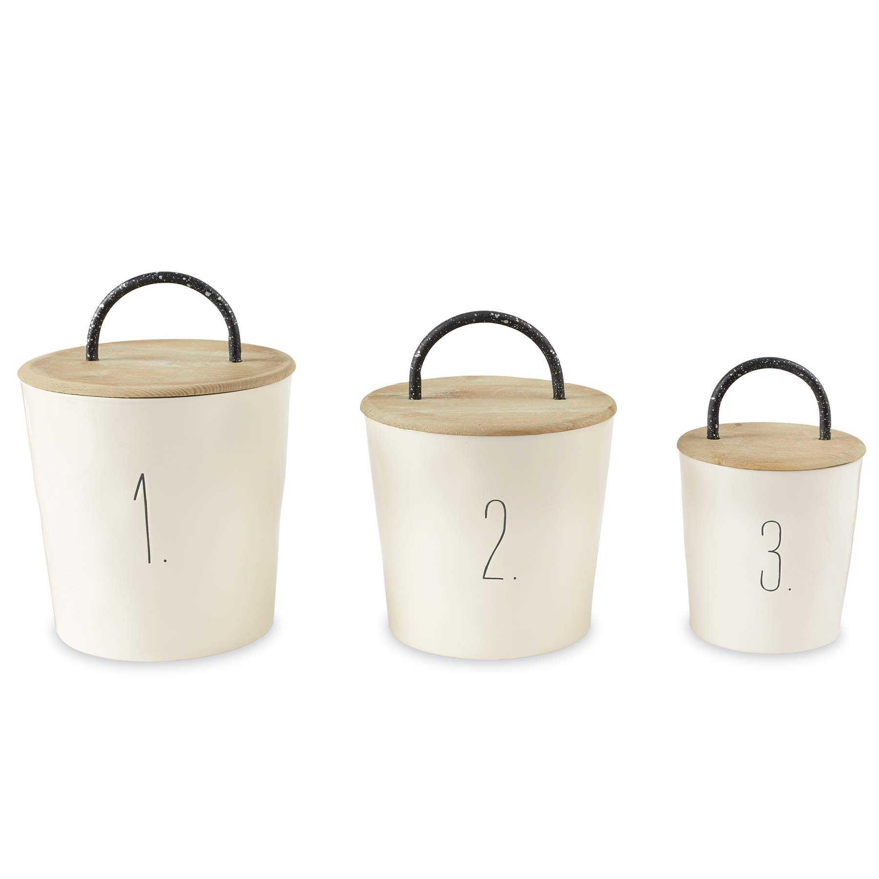 Mud Pie 49300004 Farmhouse Wooden Lids Set of 3 Canister Set One Size White