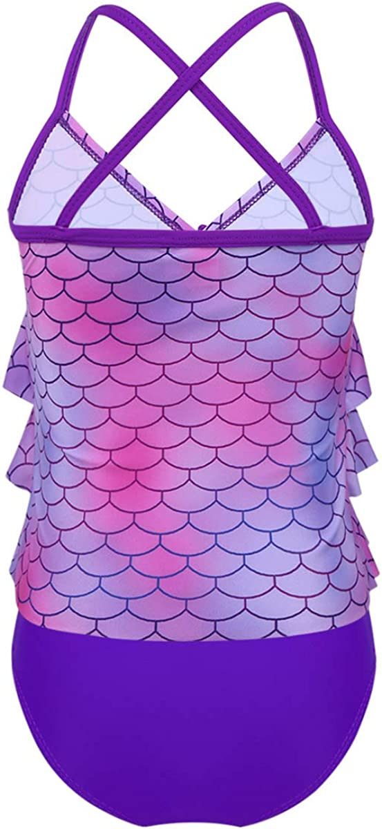 YUUMIN Kids Girls 2PCS Tankini Mermaid Outfits Summer Beach Swimwear Swimsuit Bathing Suit