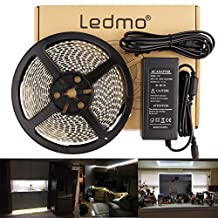 LEDMO Waterproof Flexible LED Strip Light Kit, SMD2835 300 Leds, 16.4ft/5m, Daylight White 6000K,LED Light Strip+a 12V 5A (60W) Power Supply/adapter