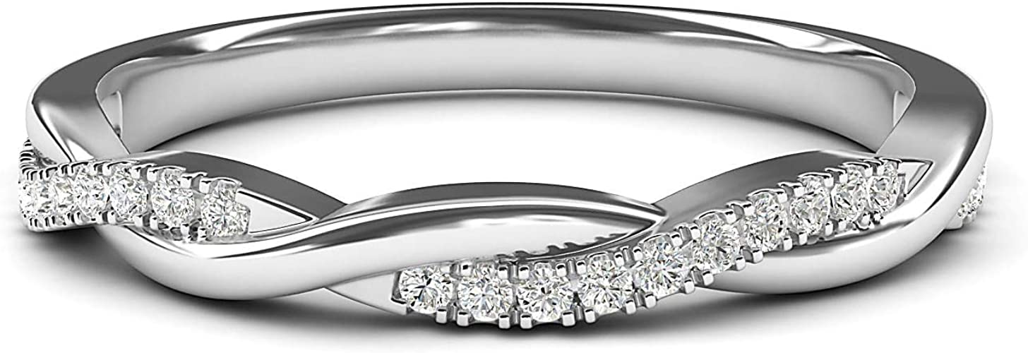 14K White Gold Diamond Wedding Band Ring 0.08 cttw Fine Jewelry Ideal Gifts For Women