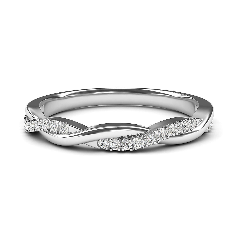 14k White Gold 2.5mm Petite Twisted Vine Simulated Diamond Ring Wedding Band Matching Ring (8.5)